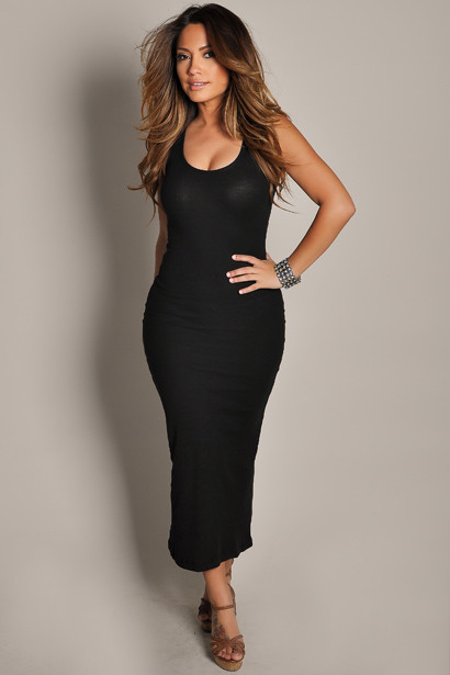 """Anabelle"" Black Cute and Casual Sleeveless Tank Maxi Dress"