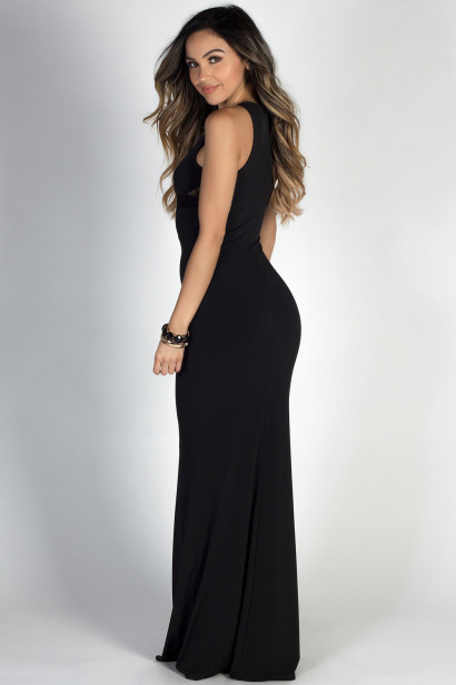 """Think of Me"" Black Sleeveless Lace & Mesh Cut Out Maxi Dress"