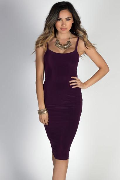 """Effortless Beauty"" Plum Spaghetti Strap Bodycon Midi Dress"