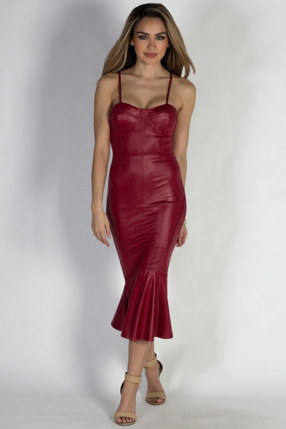 """Let's Misbehave"" Red Faux Leather Mermaid Midi Dress"