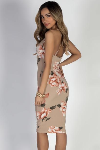 """Love Song"" Nude Floral Spaghetti Strap Midi Dress"