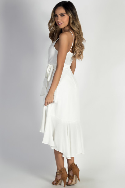 """""""Miracles"""" Off White Spaghetti Strap Dress w/ Front Tie"""