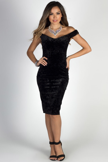 """Making Magic"" Black Glitter Velvet Off Shoulder Sweetheart Dress"