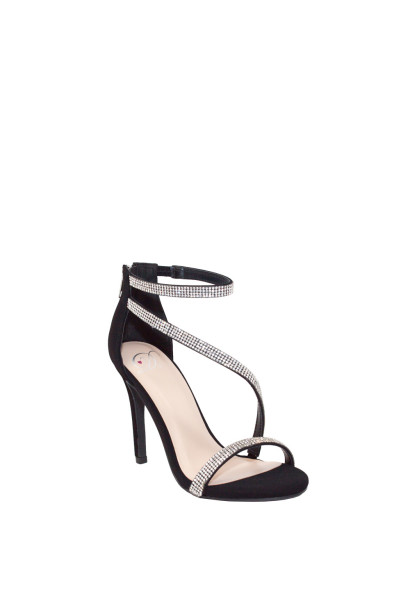 """Passion"" Black Suede Rhinestone Strap Open Toe High Heel"