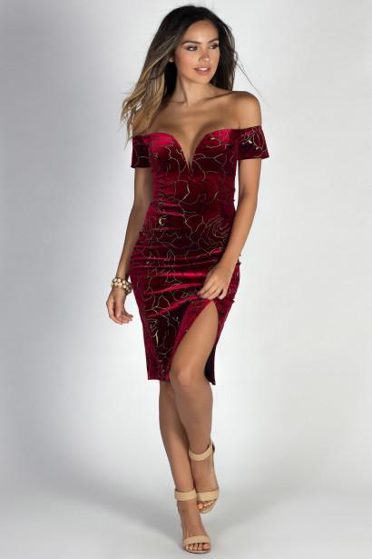 """""""Everafter"""" Red Velvet & Metallic Gold Floral Off Shoulder Cocktail Dress"""
