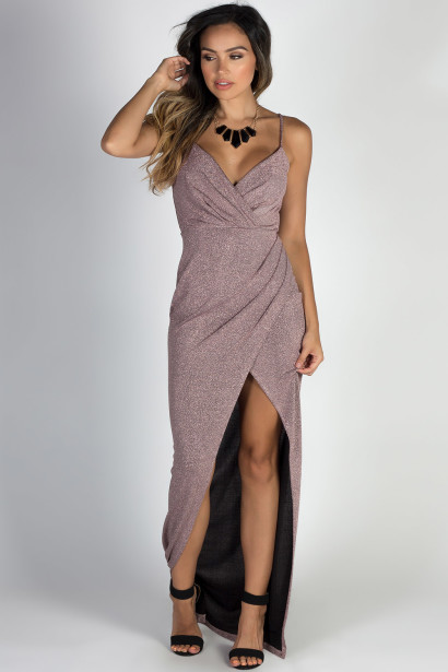 """Silver Screen Siren"" Mauve Sparkly Lurex Wrap Maxi Gown"
