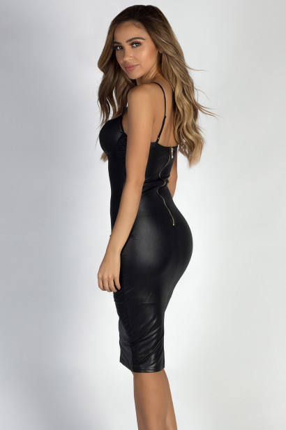 """""""Call Out My Name"""" Black Faux Leather Bodycon Midi Dress"""