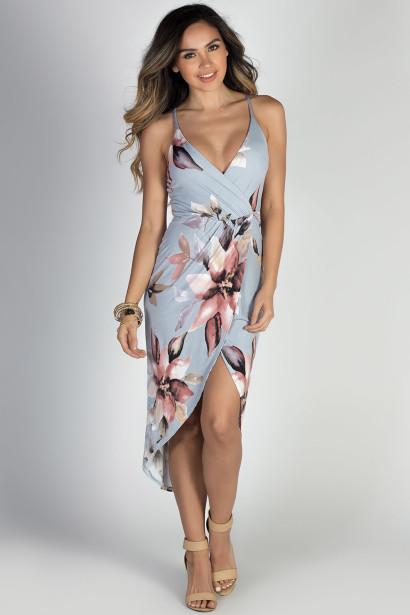 """""""Make a Wish"""" Grey & Blush Floral Print Strappy Wrap Dress"""
