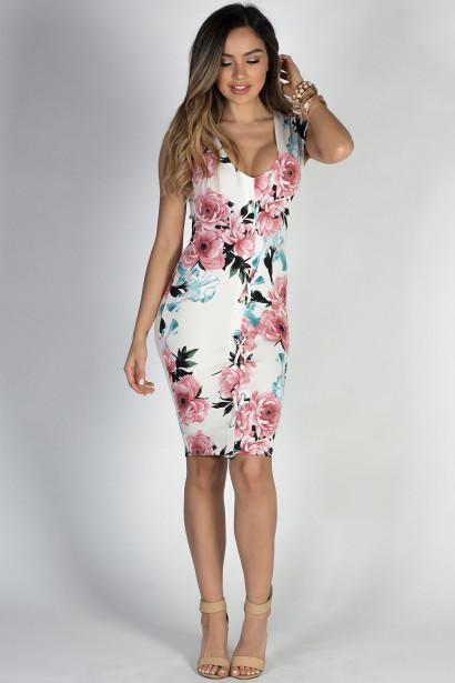 """Country Club"" Ivory & Blush Floral Print Open Back Cap Sleeve Midi Dress"