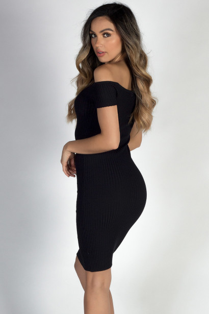"""Yes We Can"" Black Ribbed Off Shoulder Midi Dress"