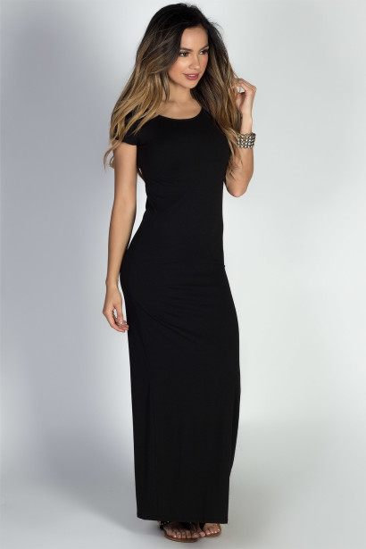 """Keep It Casual"" Black Jersey Short Sleeve Bodycon T Shirt Maxi Dress"