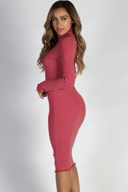 """""""One Step Ahead"""" Red And White Striped Lettuce Hem Mock Neck Dress"""