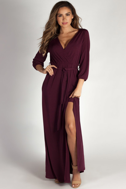 """Say Something"" Plum Long Sleeve V-Neck Maxi Dress"