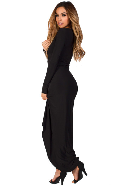 """Vesper"" Black Long Sleeve Plunging Neckline Draped Maxi Gown"