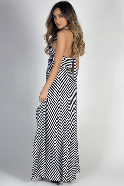 """Making Waves"" Black & White Jersey Chevron Stripe Maxi Halter Dress"