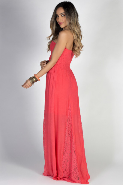 """""""Carried Away"""" Coral Strapless Shirred Maxi Summer Dress"""