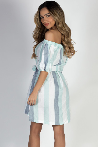 """Happy"" Sky Blue Stripe Off Shoulder Dress"