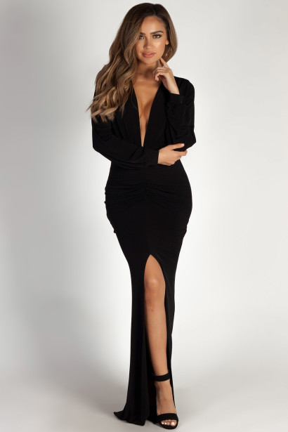 """Divine Feminine"" Black Long Sleeve Deep V Maxi Gown"