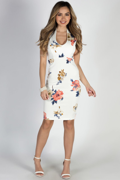 """Perfectly Composed"" Ivory & Coral Classy Floral Print Sheath Dress"