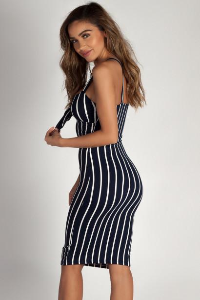 """Eye Candy"" Navy Striped Sweetheart Midi Dress"