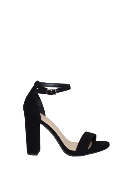 """Duchess"" Black Suede Open Toe High Heel With Ankle Strap"