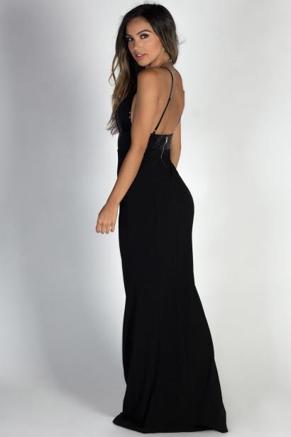 """Rising Star"" Black Deep V Sequin Bodice Mermaid Maxi Gown"