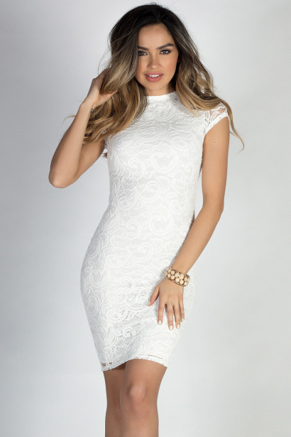 """In the Hamptons"" White Short Sleeve Bodycon Lace Midi Dress"