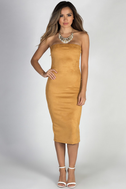 """True to Yourself"" Mustard Strapless Suede Midi Dress"