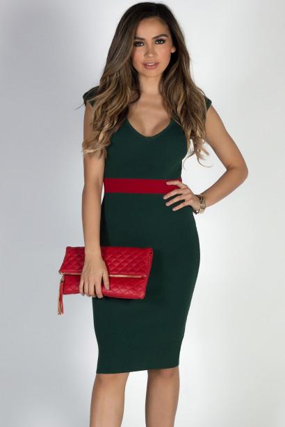 """Under the Mistletoe"" Green & Red V Neck Midi Sweater Dress"