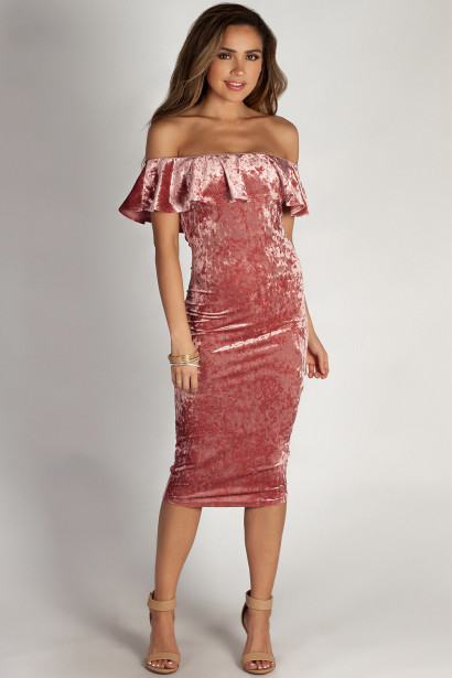 """Think The World Of You"" Blush Off Shoulder Velvet Ruffled Midi Dress"