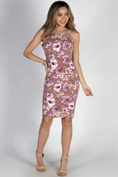 """Storybook Ending"" Mauve Floral Bodycon Strappy Midi Dress"