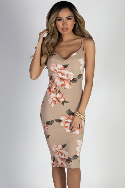 """Love Song"" Nude Floral Spaghetti Strap Midi Dress"
