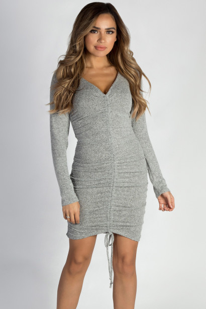 """""""Tokyo Love"""" Heather Grey Ruched Brushed Hacci Dress"""