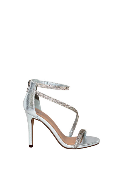 """Passion"" Silver Shimmery Rhinestone Strap Open Toe High Heel"
