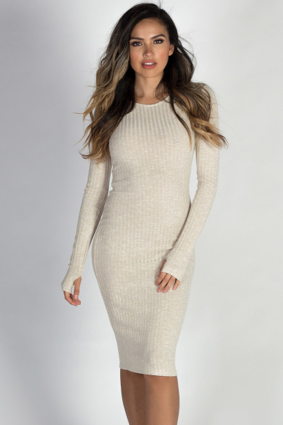 """Never Forget You"" Beige Long Sleeve Midi Thumb Hole Sweater Dress"
