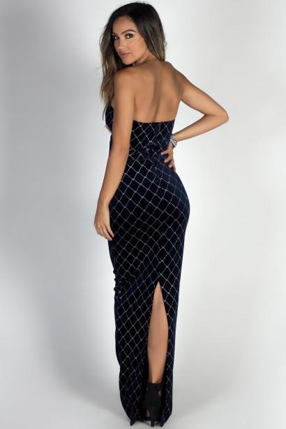 """Masquerade"" Navy & Silver Diamond Pattern Strapless Velvet Maxi Gown"
