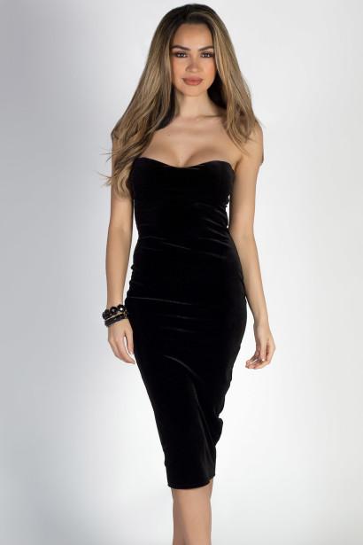 """""""Classic Beauty"""" Black Velvet Strapless Sweetheart Midi Dress"""