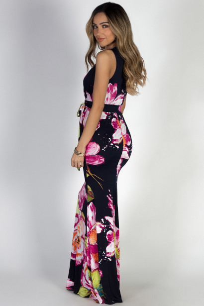 """Electric Lady"" Navy Floral Print Maxi Dress"