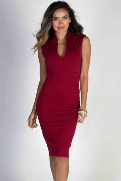 """Have it All"" Burgundy Sleeveless Midi Sheath Dress"