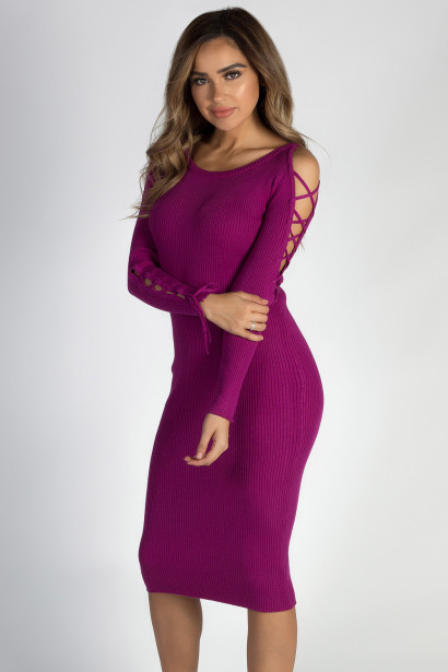 """Holding On"" Plum Lace Up Sleeve Sweater Dress"