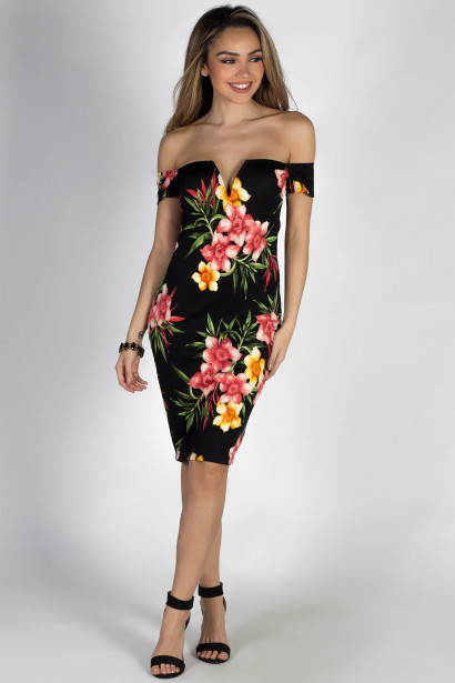 """""""Weak in the Knees"""" Black & Coral Off Shoulder Floral Cocktail Dress"""