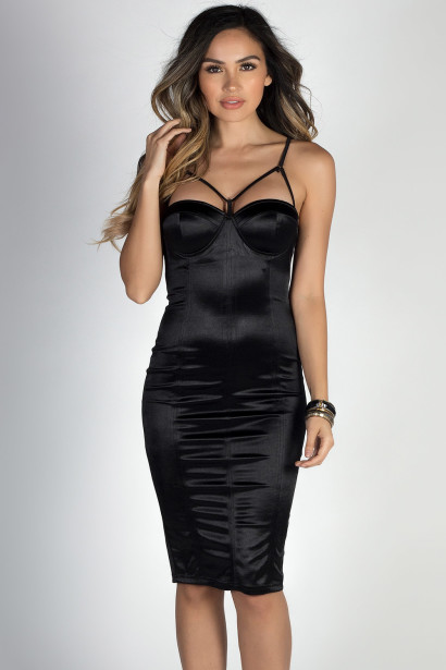 """Party Girl"" Black Strappy Neckline Bodycon Satin Bustier Dress"