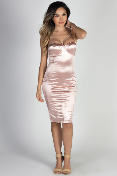 """Party Girl' Rose Strappy Neckline Bodycon Satin Bustier Dress"