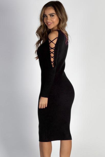 """Holding On"" Black Lace Up Sleeve Sweater Dress"