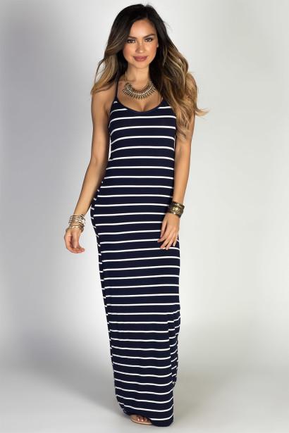 """Sandcastles"" Navy & White Striped Strappy Racerback Maxi Dress"