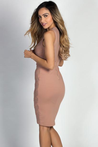 """Cady"" Nude & Gold Studded Sleeveless Mesh Bodice Cocktail Dress"