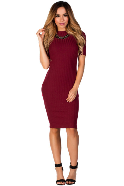 """Kennedy"" Burgundy Red Ribbed 3/4 Sleeve High Neck Bodycon Midi Dress"