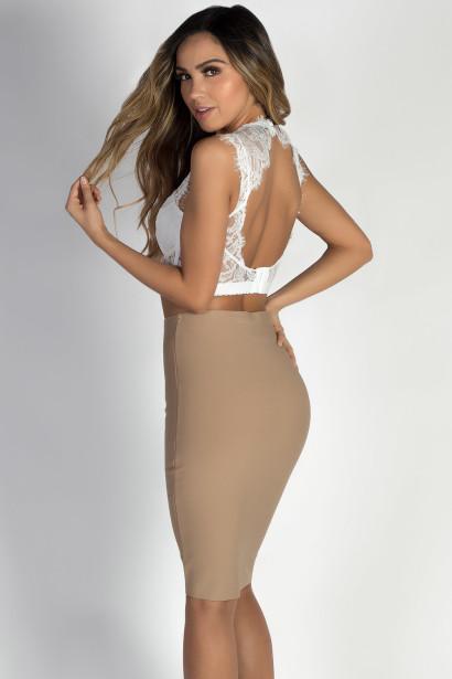 """""""Unity"""" Taupe Bodycon Bandage Skirt"""