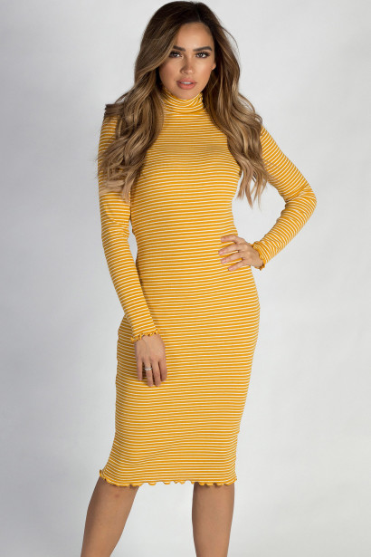 """One Step Ahead"" Mustard Yellow And White Striped Lettuce Hem Mock Neck Dress"
