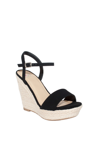 """Loyalty"" Black Open Toe Wedges w/ Ankle Straps"